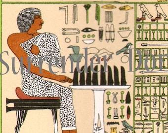 Ancient Egyptian Hieroglyphs Art 1907 Vintage Edwrdian Chromolithograph Illustration