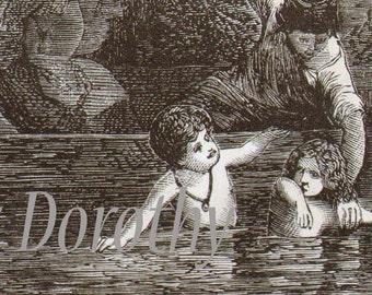 Children Bathing Victorian Steel Engraving Vintage Illustration Clean Kids & Mothers Paris France 1871 Original