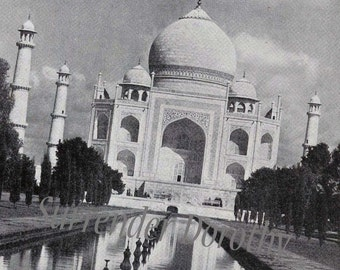 Taj Mahal Magnificent Indian Architecture Vintage Photo Palatial Illustration For Your Palace