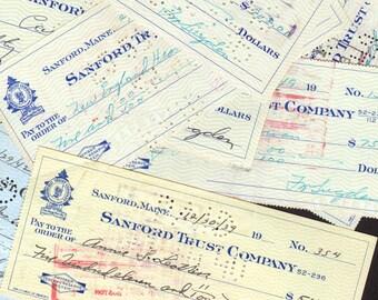 Canceled Checks 1920s 1930s 1940s Vintage Maine Financial Ephemera One Dozen 12