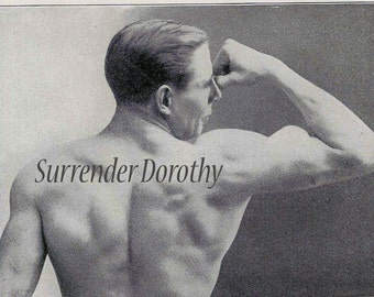 Hunky Body Building Men's Fitness Beefcake Illustrations To Frame 1918 The Sniff Test