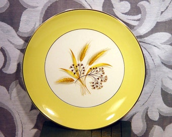 2 Autumn Gold Luncheon Plates Set Two Century Service Corp Gold Trim Vintage Mid Century 1950s 1960s Kitchenware