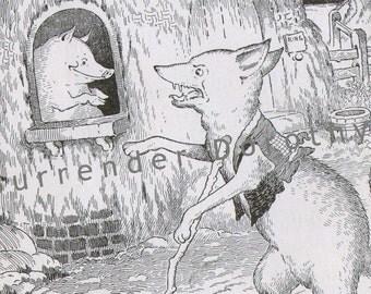 Big Bad Wolf Three Little Pigs By Harrison Cady Original 1927 Vintage Children's Nursery Art To Frame