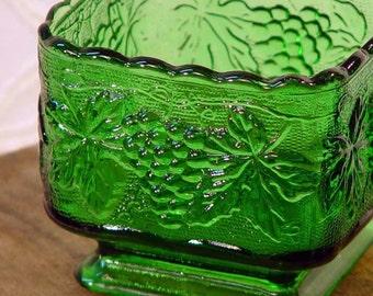 Emerald Green Glass Pedestal Candy Dish Or Planter Vintage Home Decor Organizer