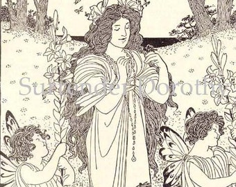 Summer Queen Origianal Vintage Print By Lucy Fitch Perkins 1920 Perfect For Framing