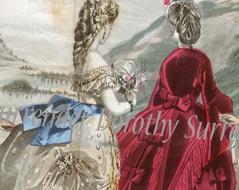 Les Modes Parisiennes September 1871 Woman's Fashions Vintage Victorian Illustration From Paris France To Frame