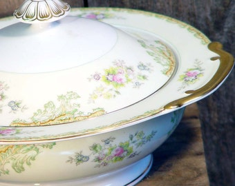 Meito Woodbine Covered Vegetable Bowl Japan 1935 1942 Vintage China Kiitchen Dining Serving