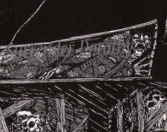 Edgar Allan Poe Premature Grave Harry Clarke 1930s Vintage Horror Illustration To Frame