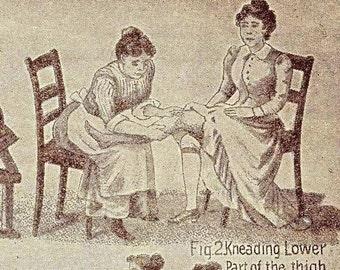 German Massage Holistic Exercise For Women Vintage 1908 Strange Edwardian Antique Chart Black & White