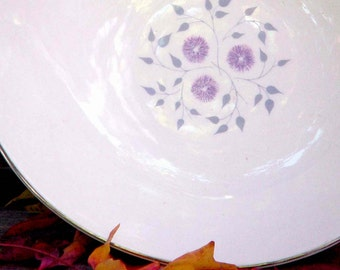 Anniversary Vegetable Bowl Centrury Service Corp Platinum Trim Vintage Dining Kitchen Lilac Purple