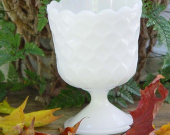 Milk Glass Footed Compote Vase By Brody For Your Vintage Wedding