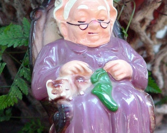 Rocking Granny Coin Bank Handmade Ceramic Handpainted Classic Vintage Kitsch