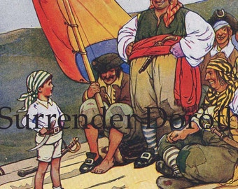 Pirate Crew On The Way To Treasure Island By Harold Farnsworth 1920s Vintage Lithograph Illustration For Children