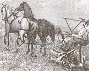 Wood Self Rake Reaper Civil War Era 1869 Victorian Antique Horse Drawn Farming Equipment Wood Engraving Black & White