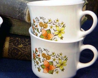 Corelle Coffee Cups Indian Summer Vintage Set Of Four 1970s Retro Kitchen Classic Mugs USA