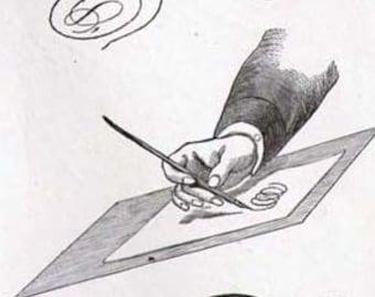 Practical Ornamental Penmanship II 1886 Vintage Victorian Calligraphy Lessons For Framing
