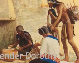 Hopi Family Preparing Dinner Native American Indian Vintage Lithograph Print To Frame USA 1927
