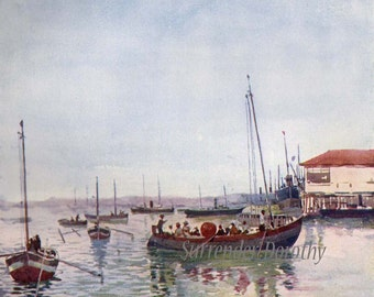 Fishing Boats Port Bahia Blanca Vintage Lithograph A S Forrest 1910 Buenos Aires Argentina