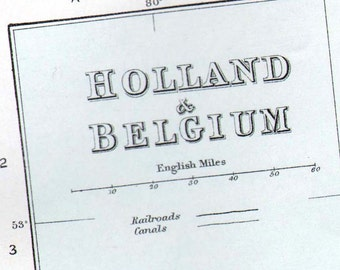 Map Holland Belgium Netherlands Vintage European Copper Engraving 1896 Cartography To Frame
