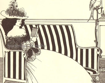The Reader by Aubrey Beardsley 1896 Victorian Reprint from 1965 95