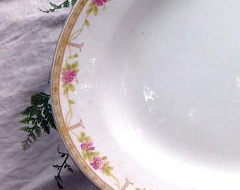 Serving Platter National China Pink Flowers Gold Edge Vintage 1920s Art Deco Huge Serving Plate