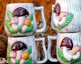 Vintage Magic Mushroom Mugs Hand Painted Trippy Seventies Colors Retro Set Of Four Cups With Elfen Magic