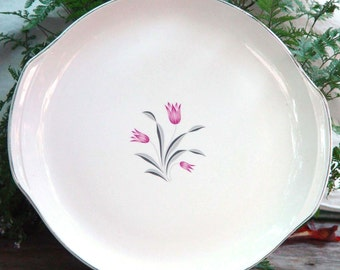 Salem Tulip Time Chop Plate Cake Platter Vintage 1950s Mid Century China Pink Gray Flowers