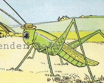 Grasshopper Green Hugh Spencer Original 1920s Children's Nursery Illustration And Verse To Frame