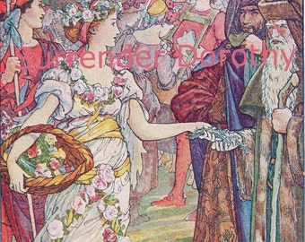 Perdita & Miranda Two Beauties Shakespeares Winter's Tale 1933 Henry Justice Ford Vintage Lithograph Print To Frame