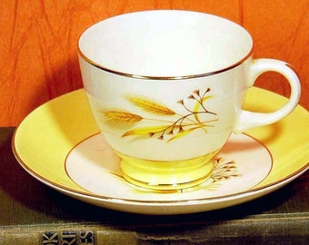 Autumn Gold Teacup Saucer Century Service Corp Set Of Two 22k Gold Trim Mid Century China 1950s 1960s Yellow White