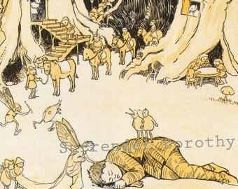 Sleeping Boy Fairy Queen Hugh Spencer 1920s Vintage Children's Nursery Illustration To Frame