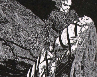 Society of Baltimore Harry Clarke 1933 Edgar Allan Poe Original Horror Art Illustration To Frame