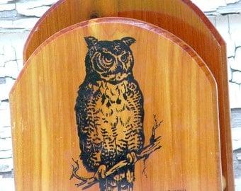 Owl Napkin Holder Tourist-Ware Vintage Classic Retro Seventies Kitchen Home Decor