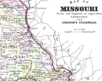 Vintage Missouri Map Etsy - Missouri map usa