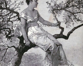 Spring Blossoms Pretty Woman Original 1890 Victorian Engraving For Framing