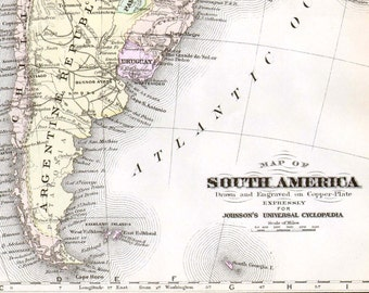 South America Map 1896 Victorian Antique Copper Engraved Chart To Frame