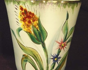 Handpainted  Vase Made In Italy 1960s Vintage Ceramic In Mossy Greens