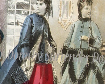 Les Modes Parisiennes December 1871 Woman's Fashions From Paris France Victorian Illustration To Frame