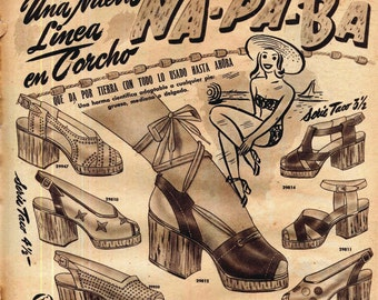 Cork Wedge Platform Shoe Ad  Para-Ti Magazine Hispanic Advertising Buenos Aires Argentina 1945