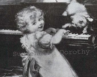 Kitten Mischief  Fred Morgan Sweet Vintage Children's Illustration For Framing 1927