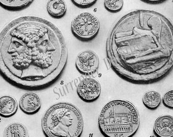 Coins Ancient Greece & Rome 1903 Edwardian Numismatics Vintage Illustration To Frame