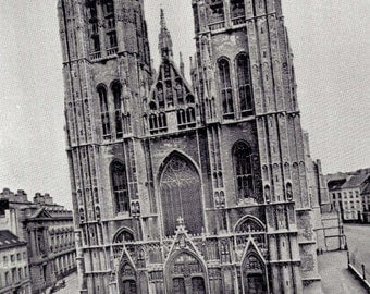 Cathedral Of Saint Gudule Brussels Belgium Gothic Architecture 1890 Victorian Rotogravure