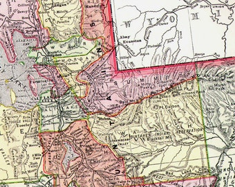 Utah USA State Map 1895 Rand McNally Indian Reservations Victorian Antique Cartography To Frame