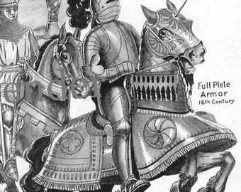Men And Horses In Armor Chart Twenty Centuries 1920s Fashion Print To Frame