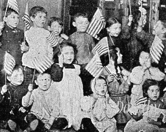 American Kindergarten Edwardian Era Kids 1912 WWI Four Vintage Views To Frame
