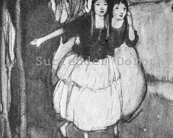 Two Maidens Rescue A Dwarf 1927 Fun Vintage Children's Lithograph To Frame