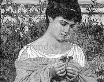 Chloris Grecian Goddess Of Flowers 1890 Victorian Beauty Original Vintage Illustration To Frame