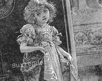 Pet Of The Household Little Victorian Girl 1892 Original Vintage Engraving For The Nursery
