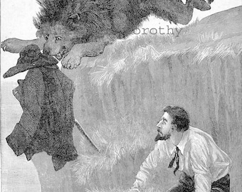 Quick Thinking Clever Fellow 1892 Victorian African Adventure Print Engraving For Children To Frame