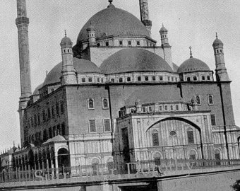 Mosque Mohammed Ali Cairo Egypt 1890 Vintage Victorian Middle East Architecture Rotogravure Illustration To Frame
